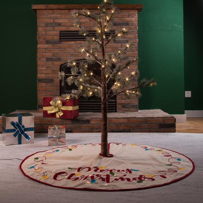 LED Light-Up Merry Christmas Tree Skirt