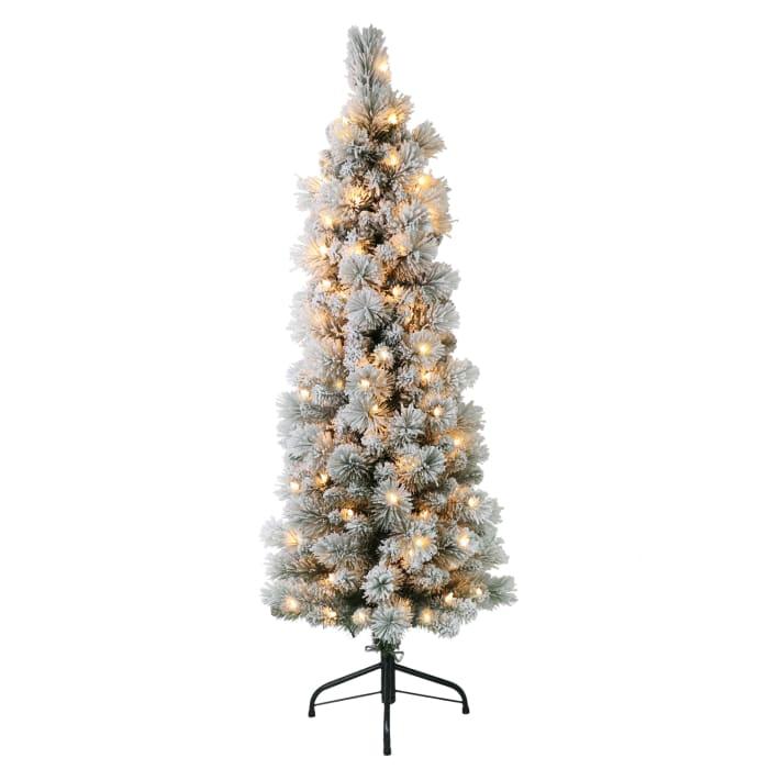 4.5' Pre-Lit Flocked Pine Pencil Christmas Tree