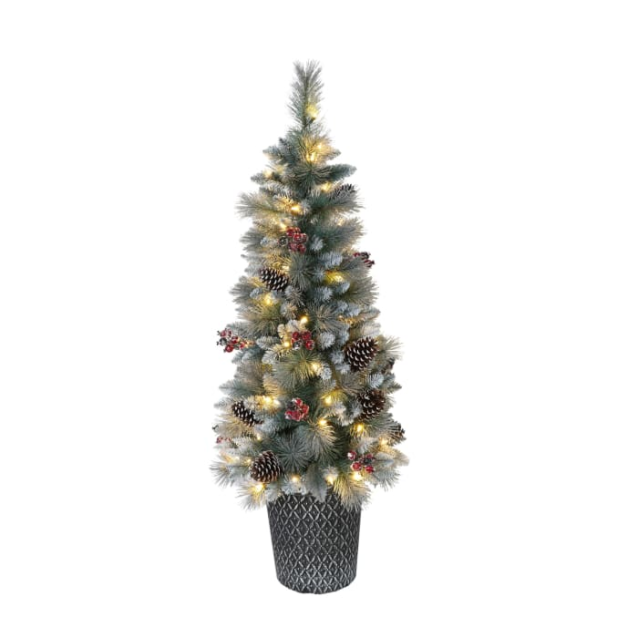 4.5' Potted Pre-Lit Sterling Pine Artificial Christmas Tree