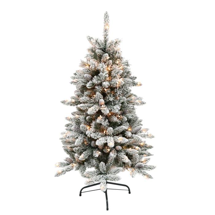4.5' Pre-Lit Flocked Bennington Fir Christmas Tree