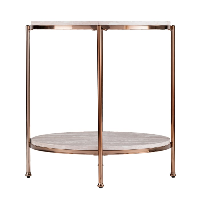 Tyler Faux Marble & Rose Gold End Table