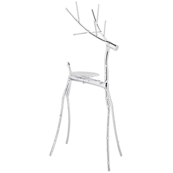 Twig Reindeer Pillar Holder - Silver