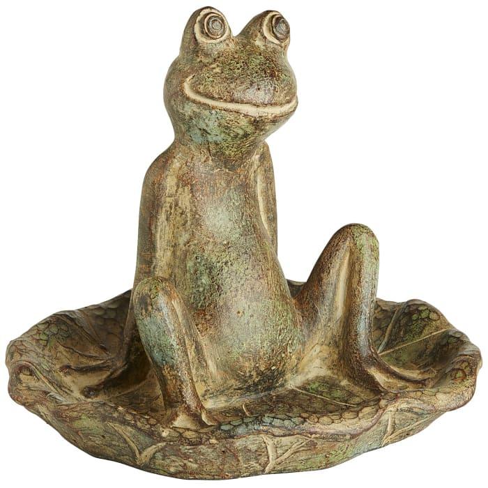 Terracotta Sitting Baby Frog Bird Feeder