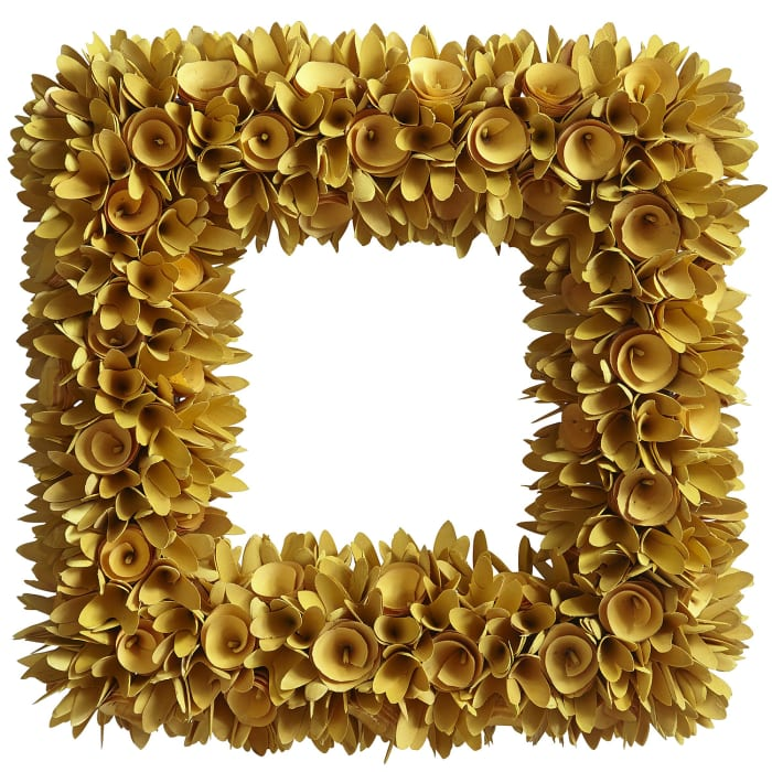 Wood Curl Yellow Square Wreath