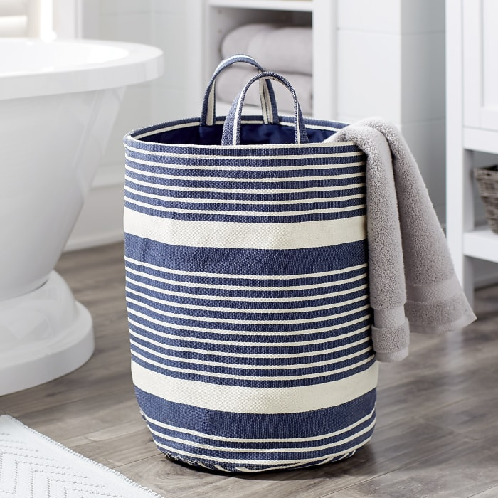 Blue & White Striped Laundry Tote