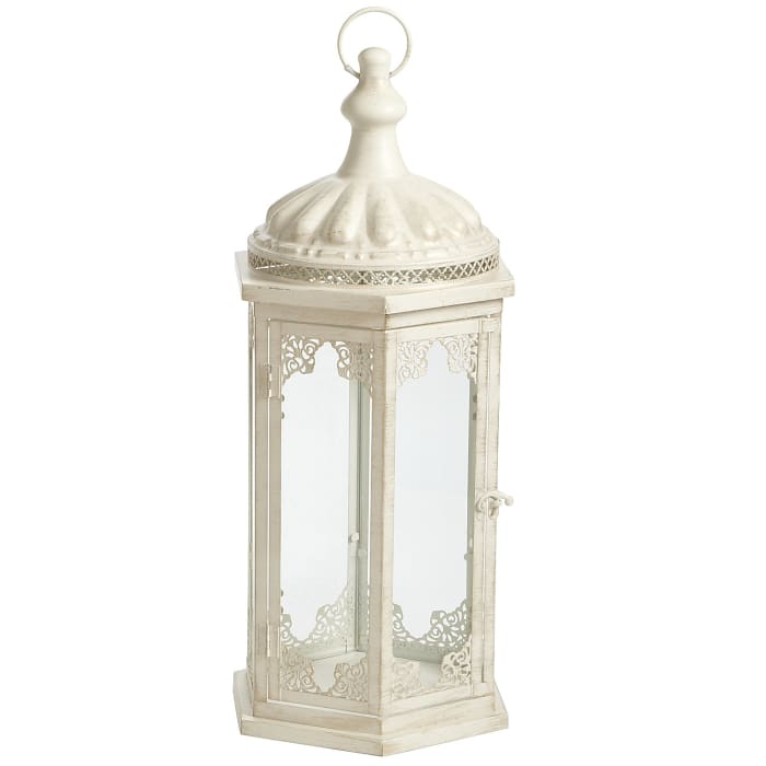 Cathedral Lace Medium White Metal Lantern