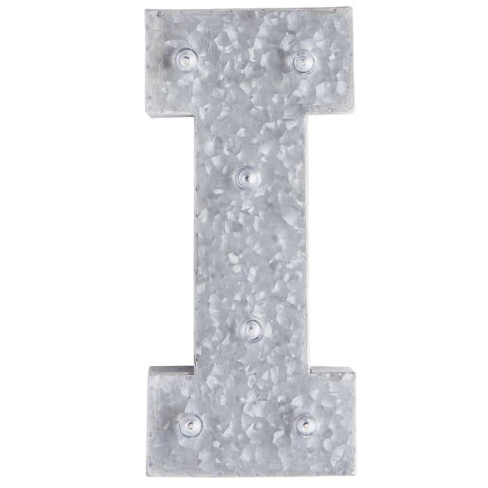 LED Galvanized Metal Monogram Letter - I