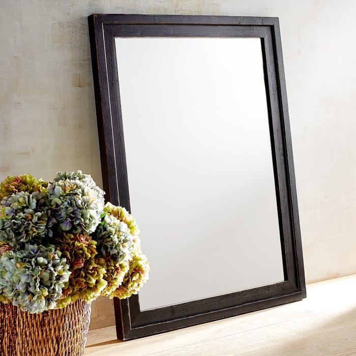 Ville Antiqued Black Wood Framed 36x48 Mirror