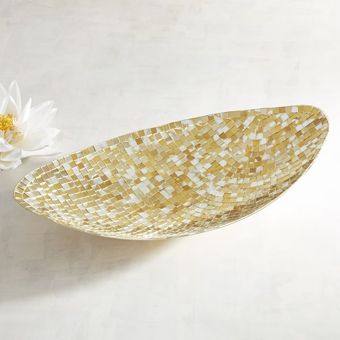 Golden Mosaic Decorative Oval Bowl