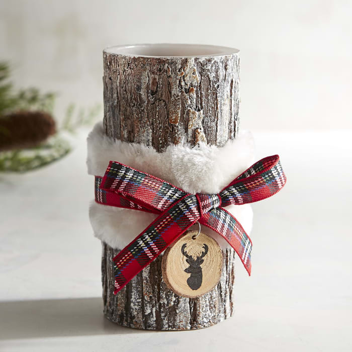 Wood Grain with Fur Belt LED Pillar Candle