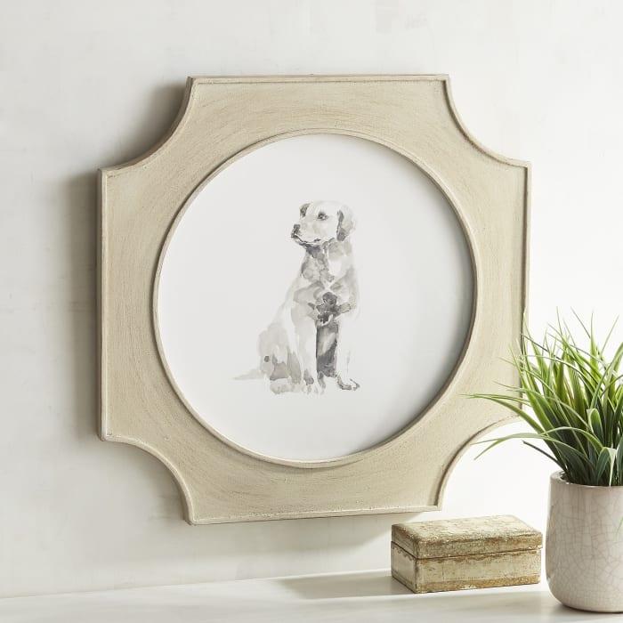Framed Sitting Retriever Dog Art