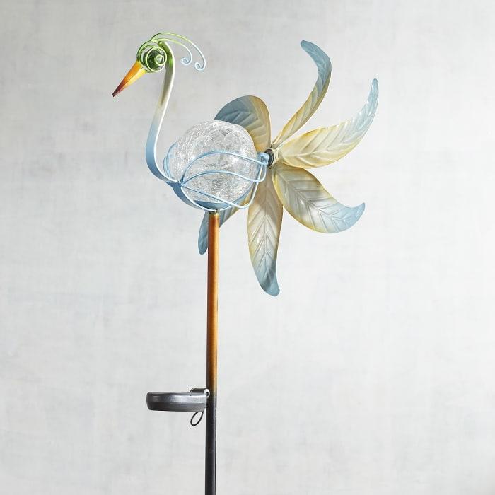 LED Solar Heron Garden Stake