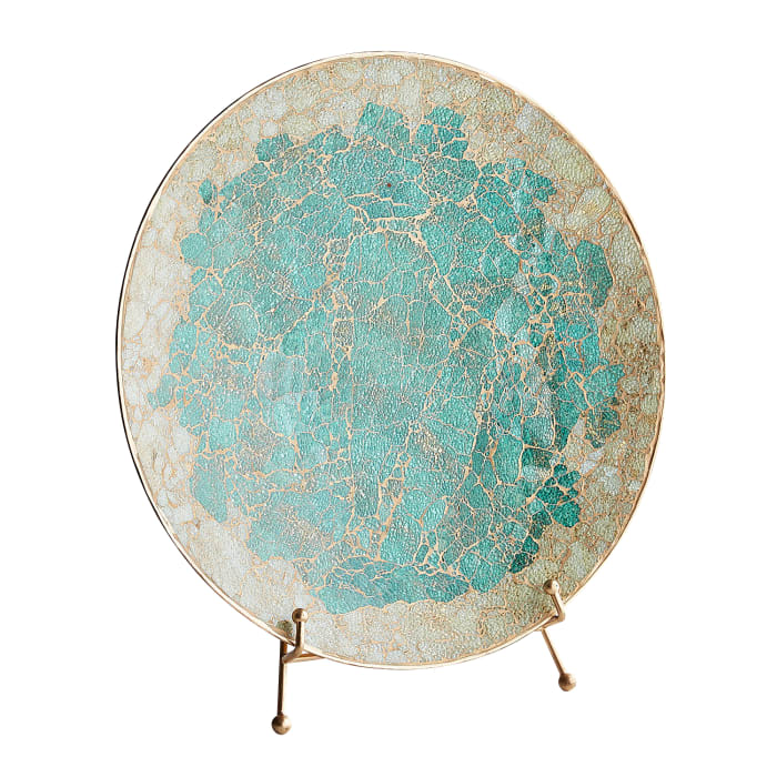 Turquoise Mosaic Platter on Stand