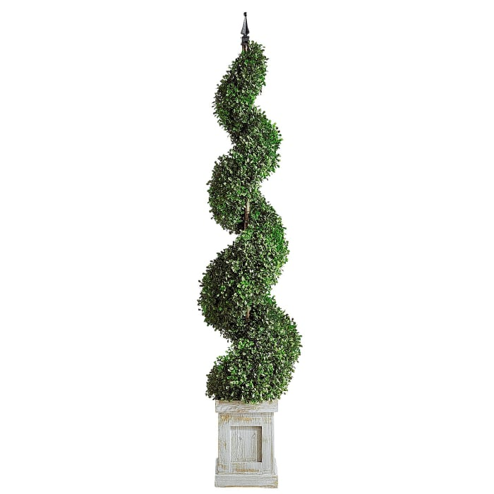 Outdoor Faux Boxwood Spiral 60