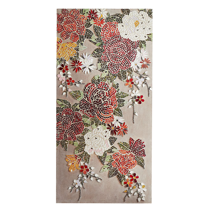Burgundy Blooms Mosaic Wall Panel