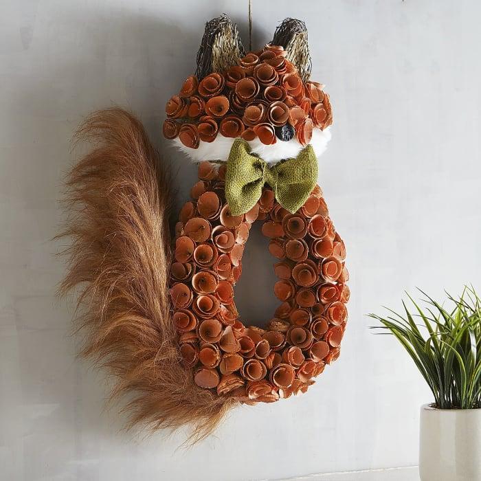 Glitter Wood Curl Fox Wreath