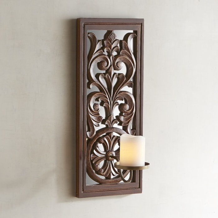 Carved Brown Wood Candle Holder Wall Sconce
