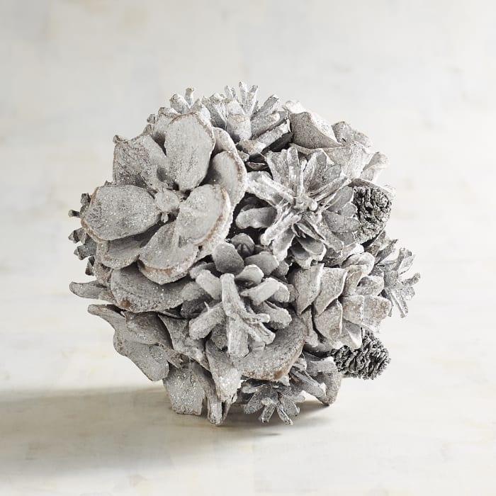 Whitewashed Pinecone Decorative Sphere