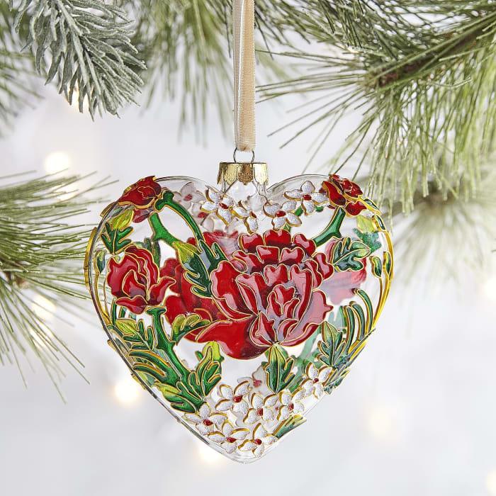 Cloisonne Flower Heart Ornament