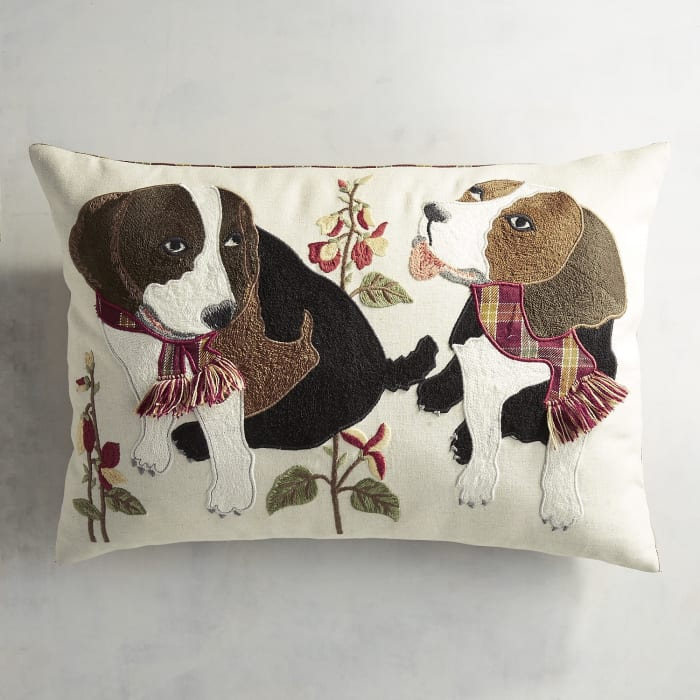 Embroidered Scarved Beagles Lumbar Pillow