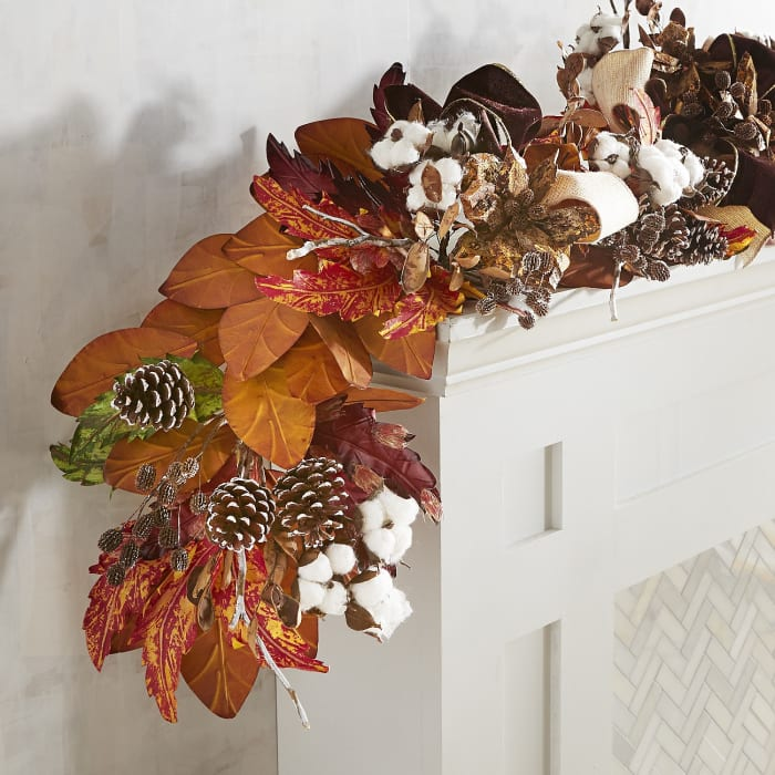 Fall Faux Cotton Luxury 6' Garland