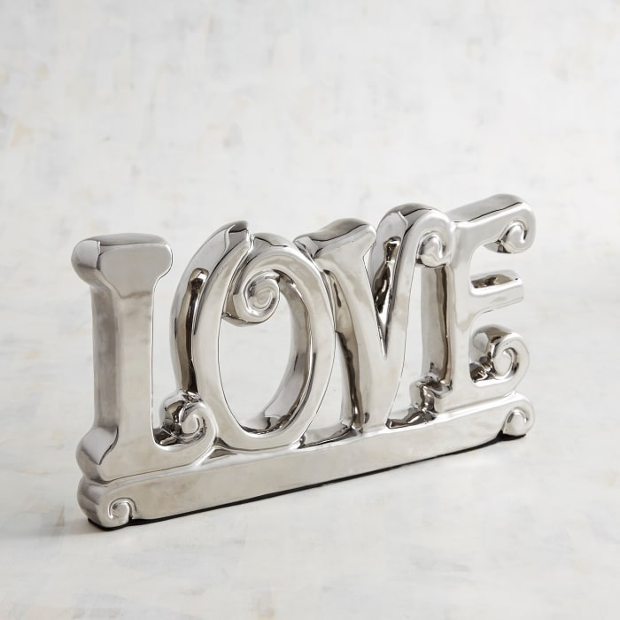 Silver Ceramic Love Sculpture