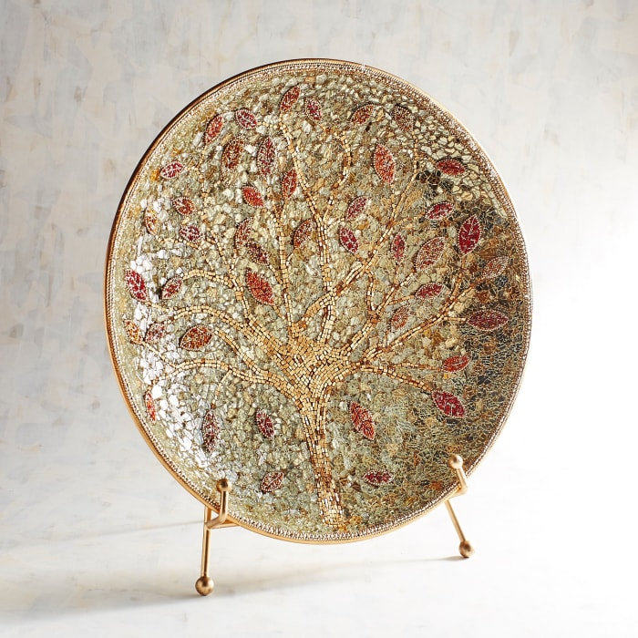 Golden Tree Mosaic Platter with Stand
