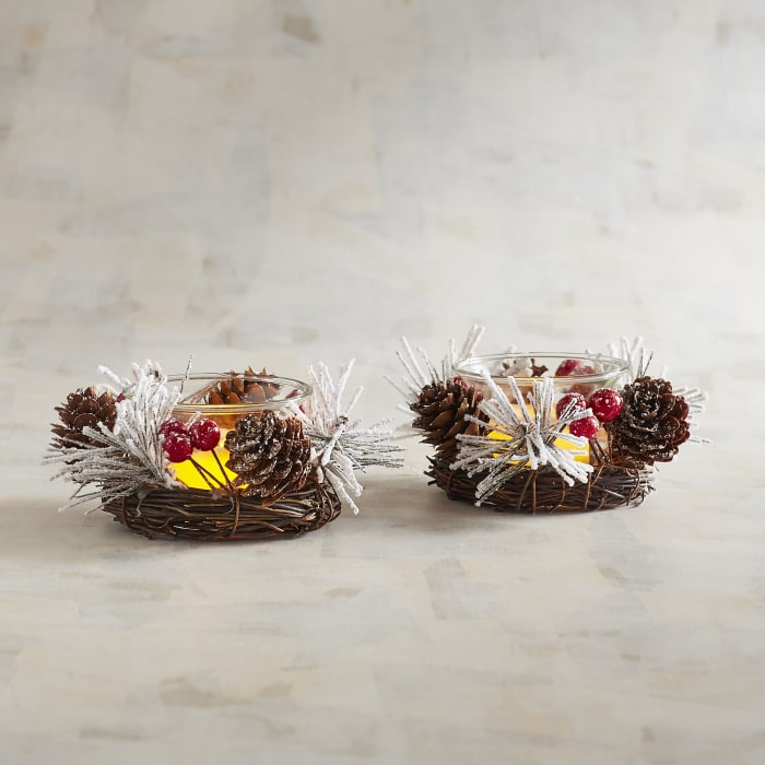Snowy Pinecone Tealight Candle Holder Set