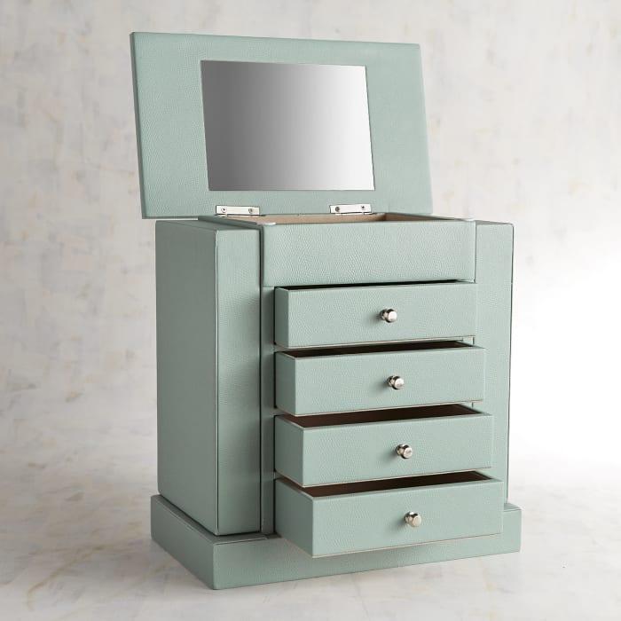 Aqua Embossed Jewelry Box