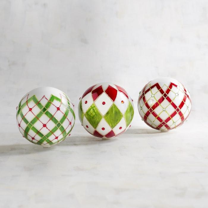 Glass Plaid Decorative Spheres Set of 3