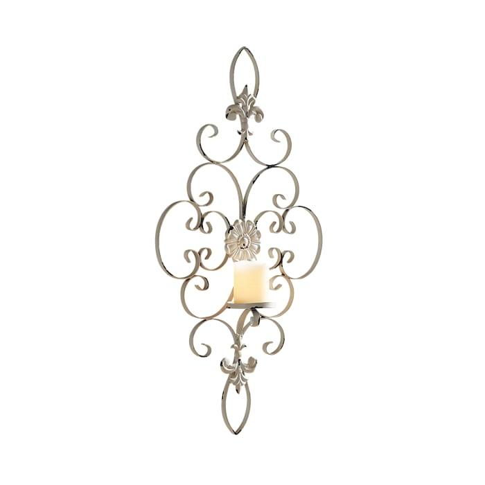 White Metal Fleur de Lis Candle Wall Sconce