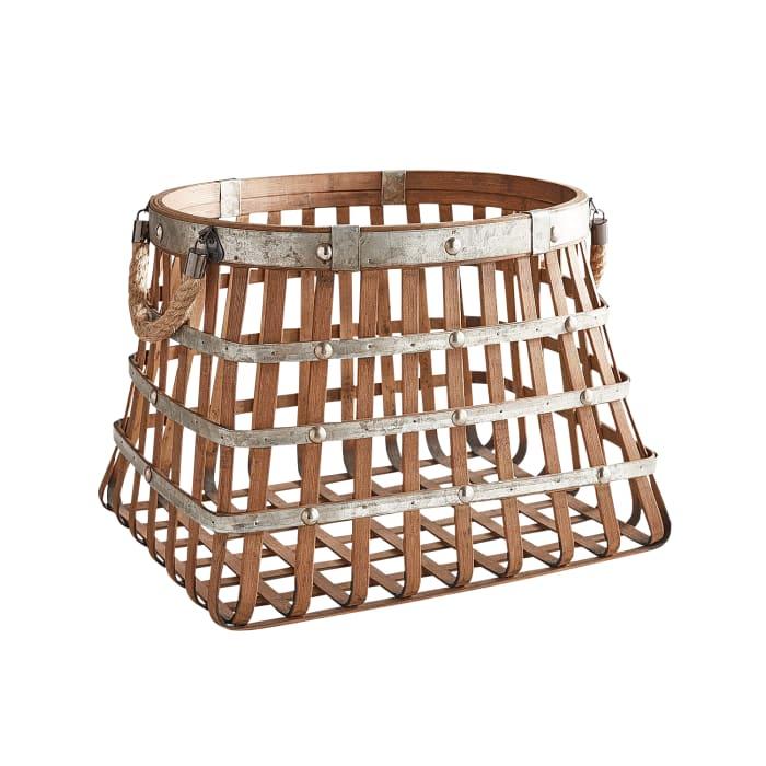 Bamboo Basket with Metal Detail