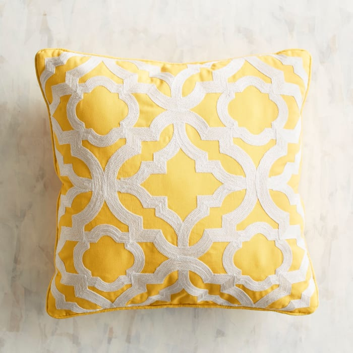 Embroidered Tile Lemon Pillow