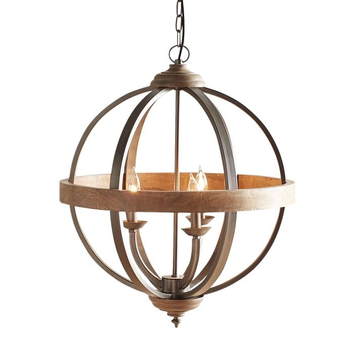 Rose Wood & Metal Pendant Light