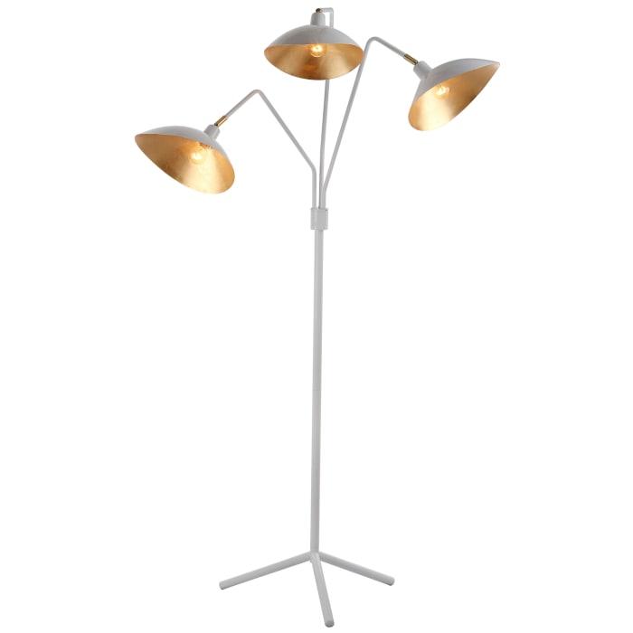 White & Gold 3-Light Task Floor Lamp