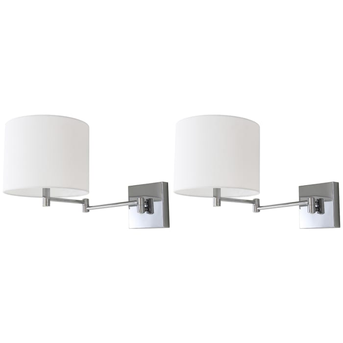 Chrome Swing Arm Wall Sconces Set of 2