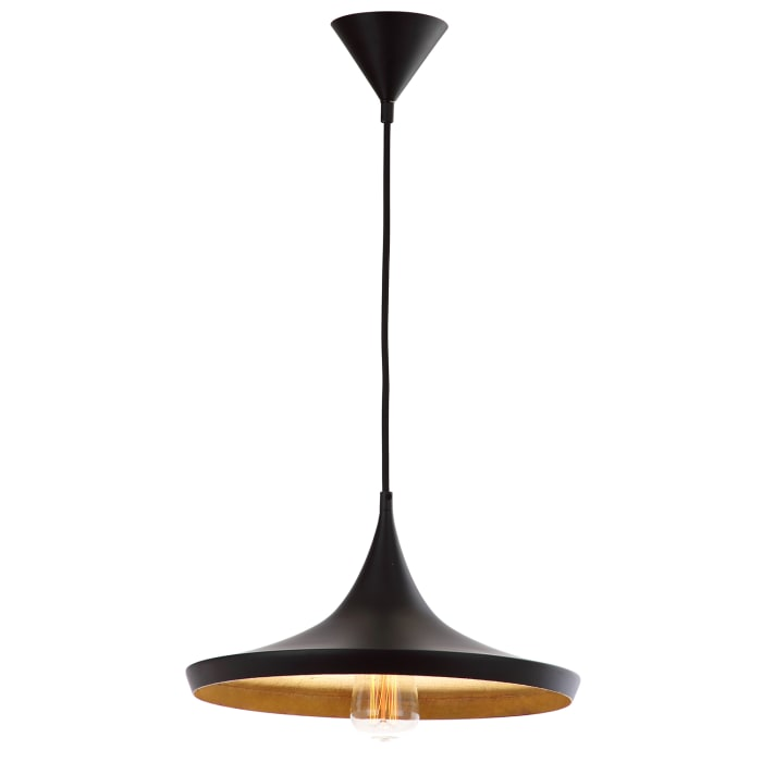 Black & Gold Wide Modern Pendant Light