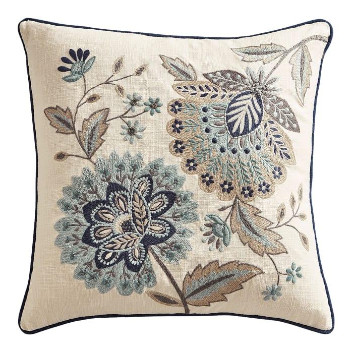 Beaded True Blue Jacobean Floral Pillow