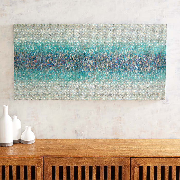 Teal Striations Mosaic Wall Panel