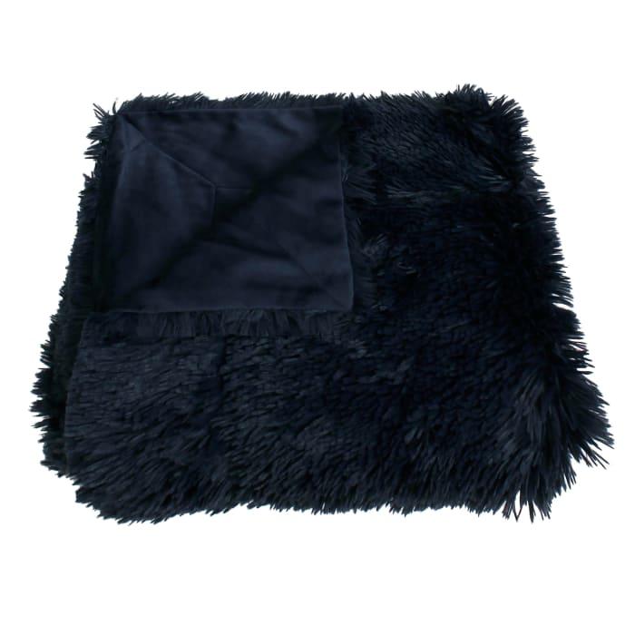 Navy Chubby Faux Fur Decorative Throw