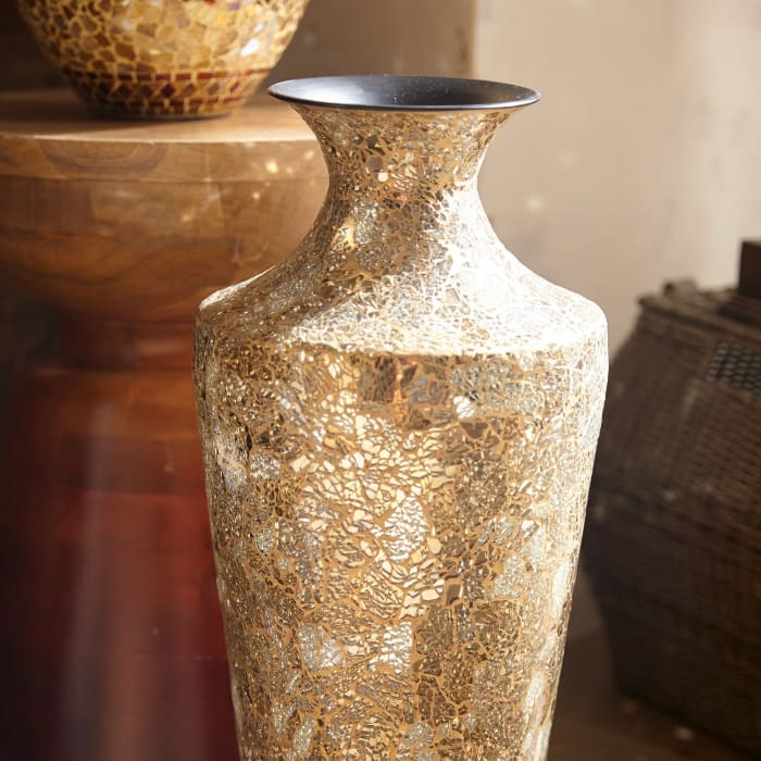 Gold & Silver Crackle Glass Mosaic Vase