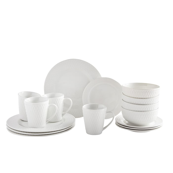 Basket Weave White 16-Piece Dinnerware Set