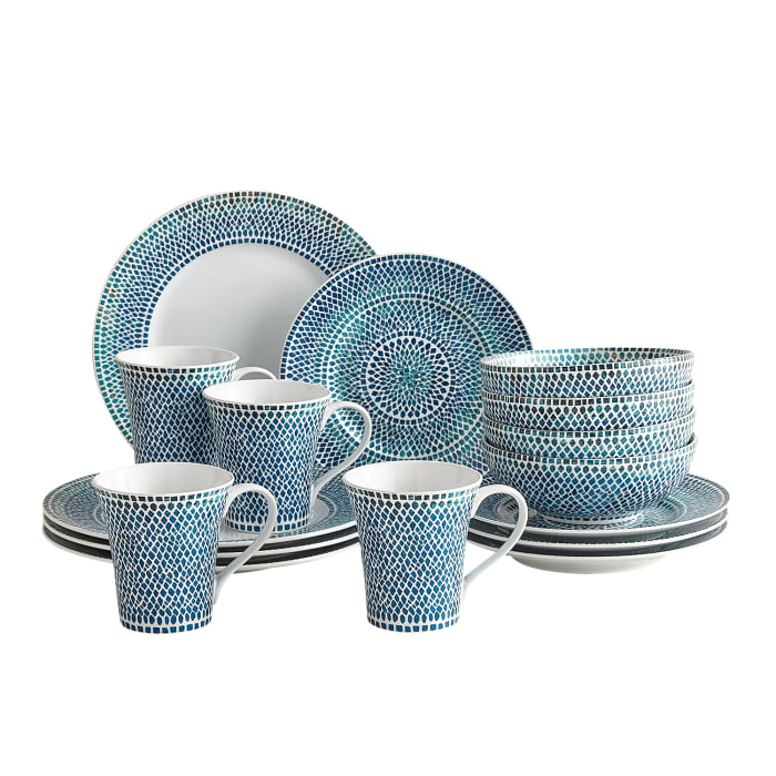 Solange Teal & Blue 16-Piece Dinnerware Set