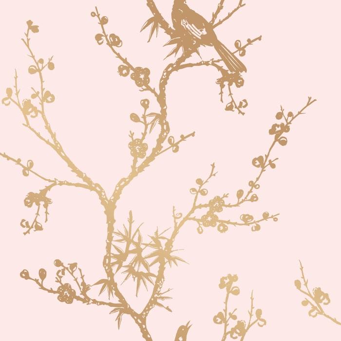 Cynthia Rowley Pink & Gold Bird Self-Adhesive Removable Wallpaper