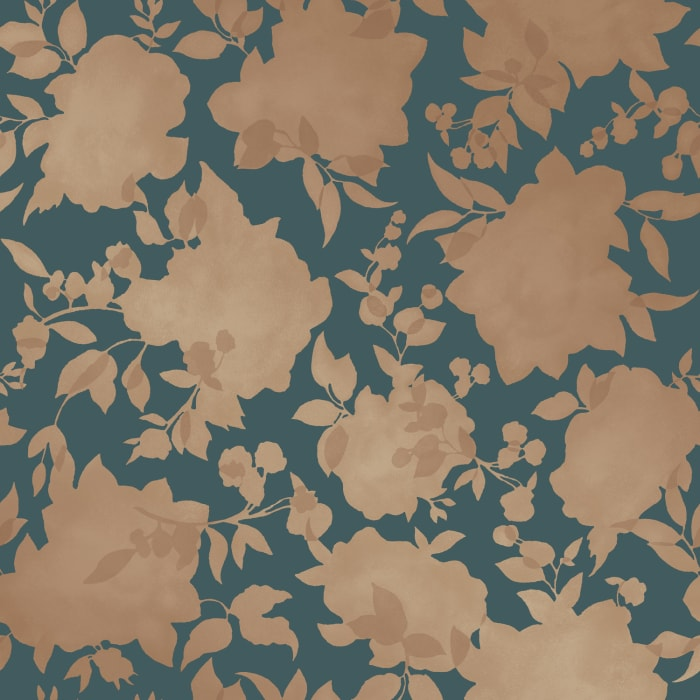 Tempaper® Silhouette Blue & Gold Self-Adhesive Wallpaper