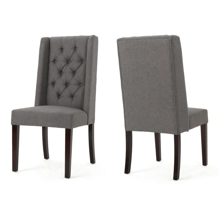 Dark Gray Dining Chairs Set of 2