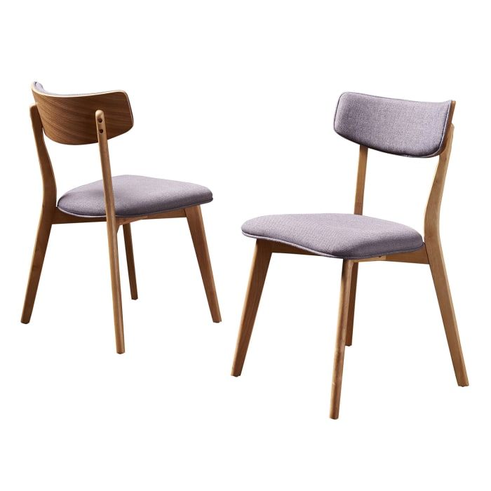 Dark Gray Fabric Dining Chairs Set of 2