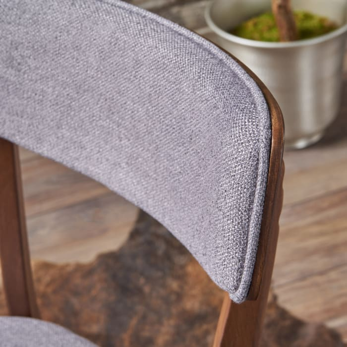 Mid-Century Dark Gray Fabric Dining Chairs