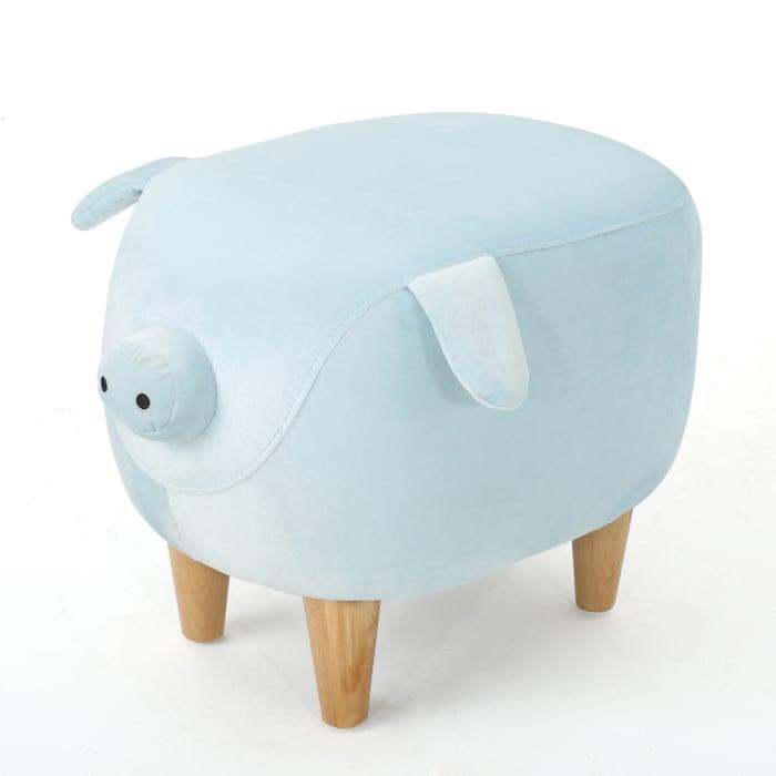 Kids Blue Velvet Pig Ottoman
