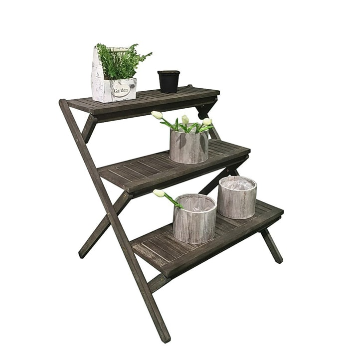 Bresa Gray Wood 3-Tier Garden Stand